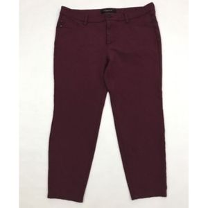 Red Wine Stretch Leggings Size 14 Petite Cropped